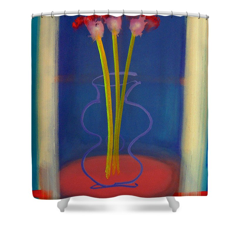 Guitar Shower Curtain featuring the painting Guitar Vase by Charles Stuart
