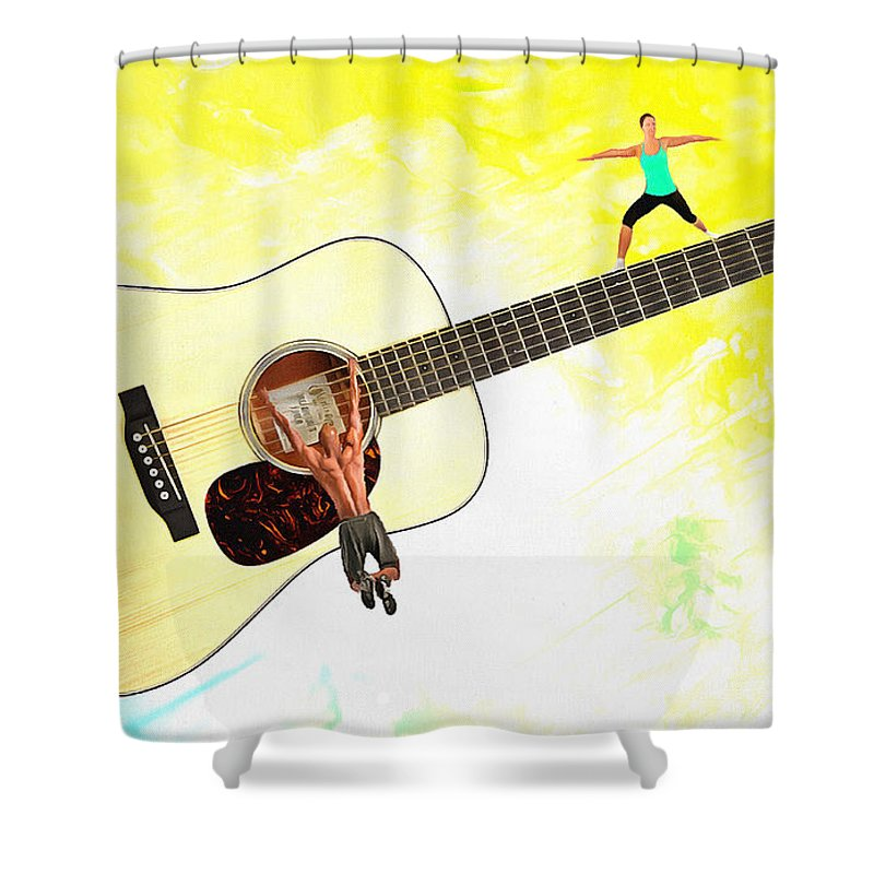 Imagination Shower Curtain featuring the digital art Guitar Workout by Anthony Caruso