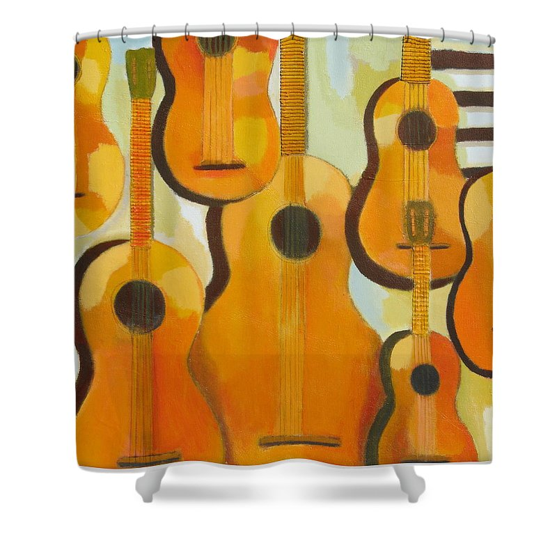 Abstract Shower Curtain featuring the painting Guitars by Habib Ayat