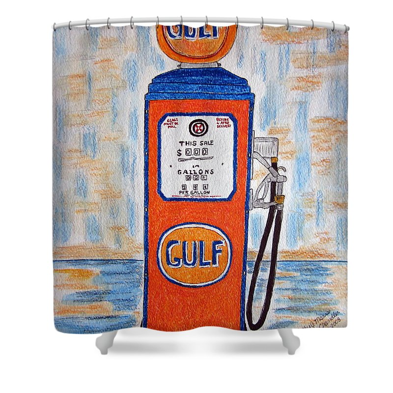 Vintage Shower Curtain featuring the painting Gulf Gas Pump by Kathy Marrs Chandler
