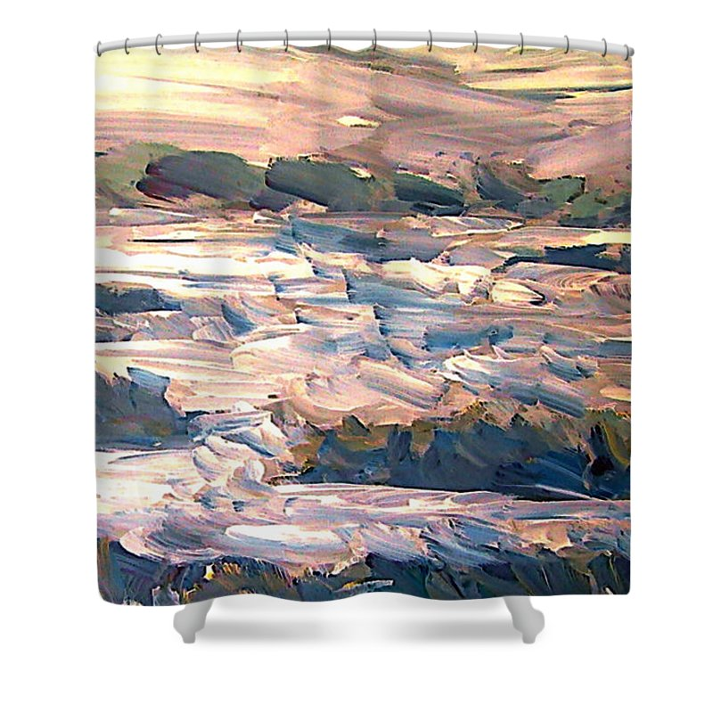 Abstract Shower Curtain featuring the mixed media Gulf Island Sunset by Ted Hesketh