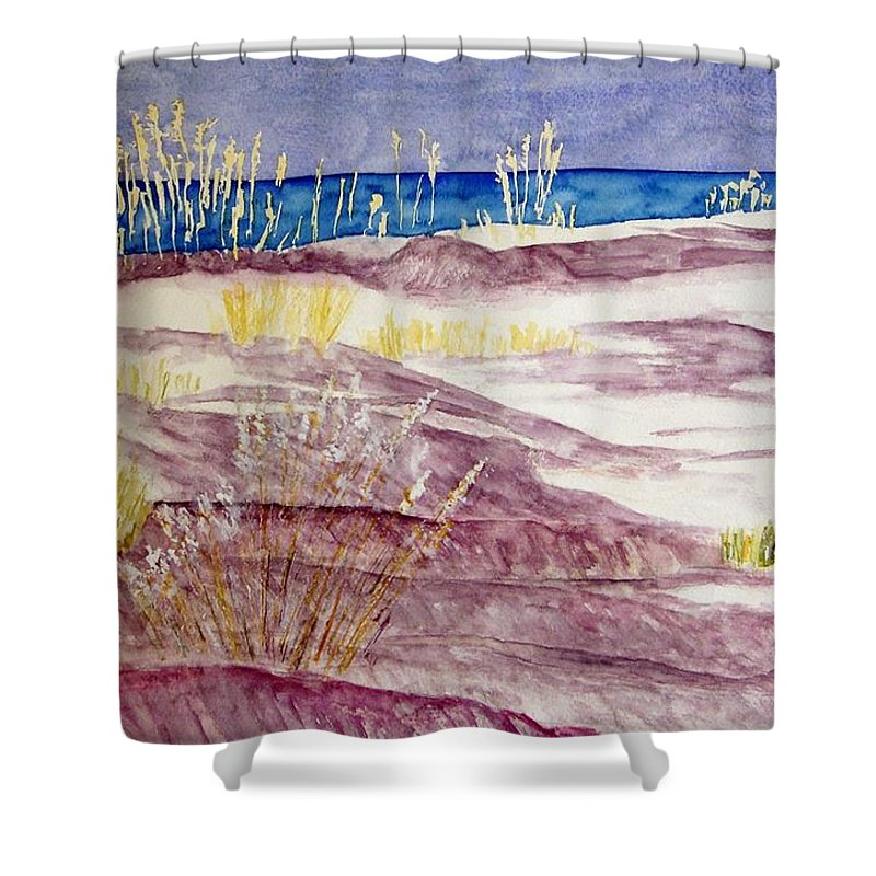 Seascape Shower Curtain featuring the painting Gulf Shores Alabama by Larry Wright