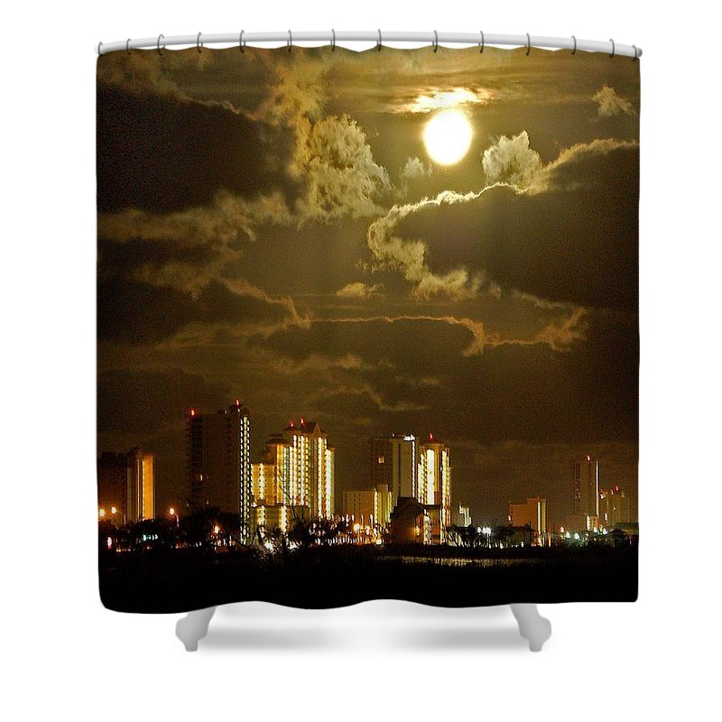 Beach Shower Curtain featuring the painting Gulf Shores Night Skys by Michael Thomas