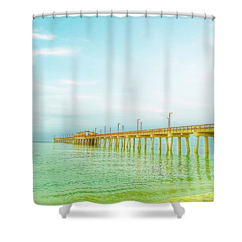 Beach Shower Curtain featuring the photograph Gulf Shores Pier by Christine DuMouchel