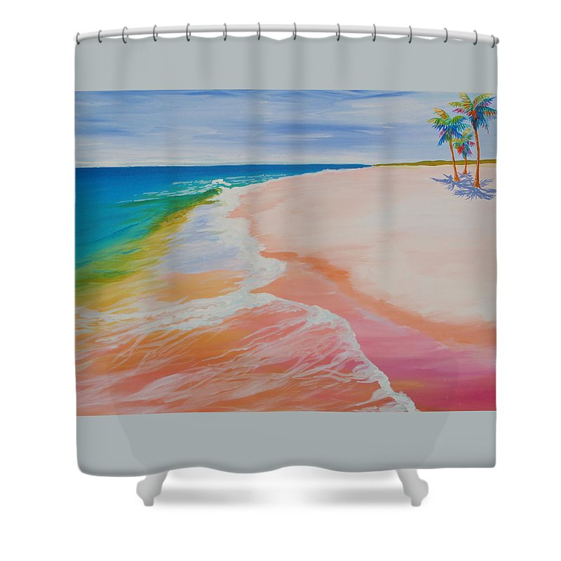 Gulf Shore Shower Curtain featuring the painting Gulf Side by Anne Marie Brown