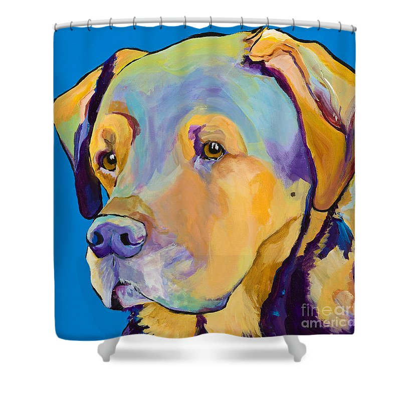 Dog Portrait Shower Curtain featuring the painting Gunner by Pat Saunders-White