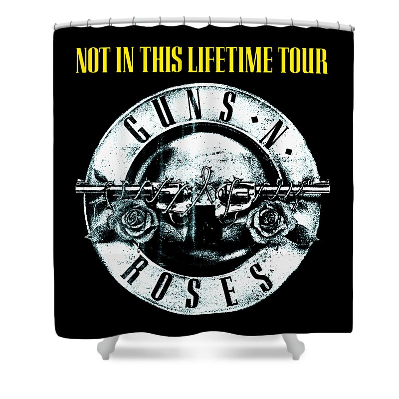 Guns And Roses Shower Curtain featuring the digital art Guns And Roses Logo1 2017 by Ming Chandra