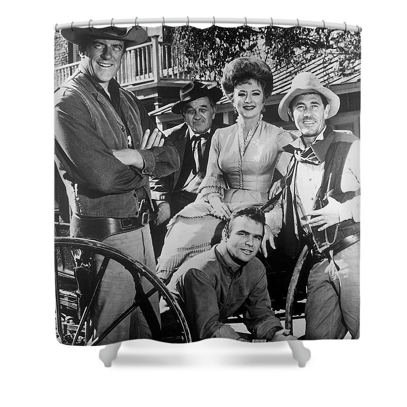 Gunsmoke Cast James Arness Amanda Blake And Burt Reynolds Shower Curtain