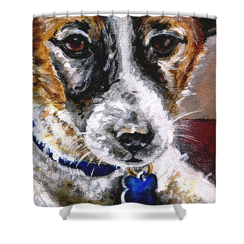 Chartiy Shower Curtain featuring the painting Gunter From Muttville by Mary-Lee Sanders