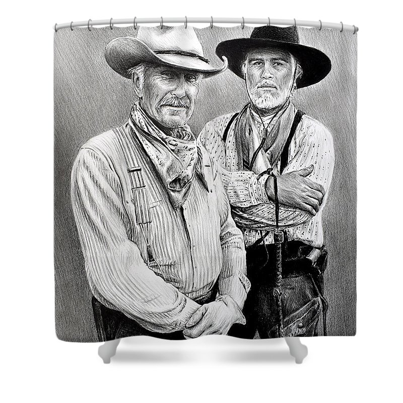 Lonesome Dove Shower Curtain featuring the drawing Gus And Woodrow by Andrew Read