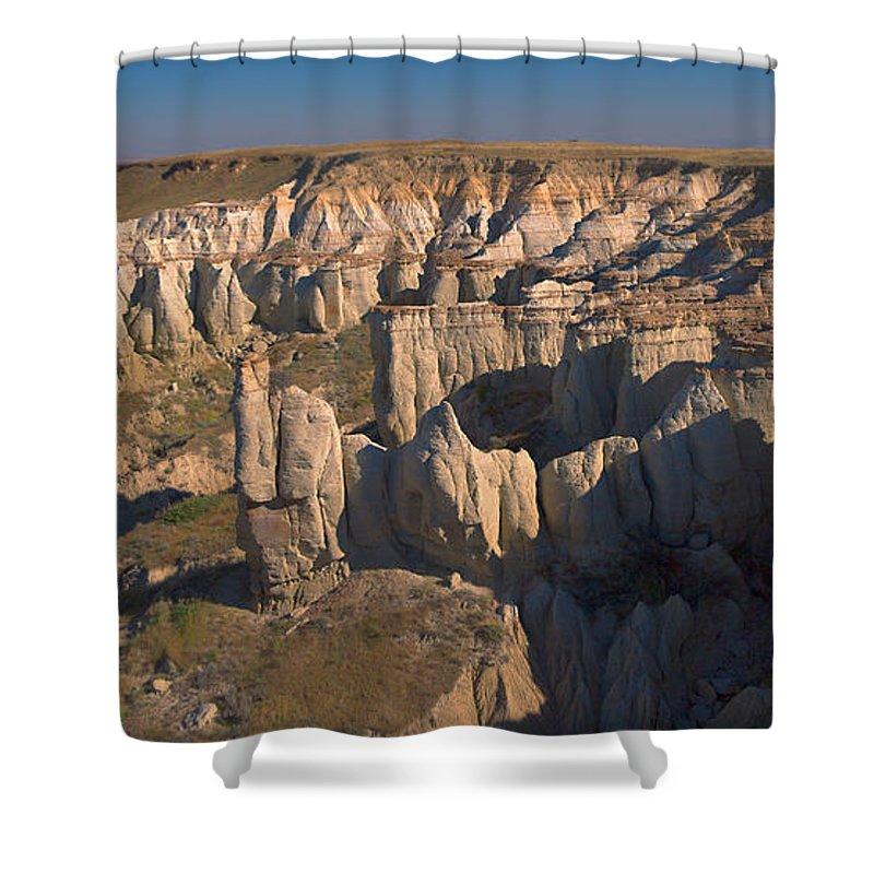 Gypsum Shower Curtain featuring the photograph Gypsum Cliffs by Grant Groberg