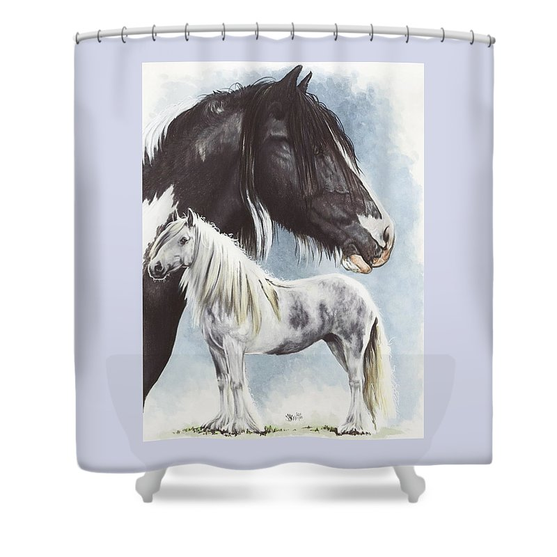 Equine Shower Curtain featuring the mixed media Gypsy Cob by Barbara Keith