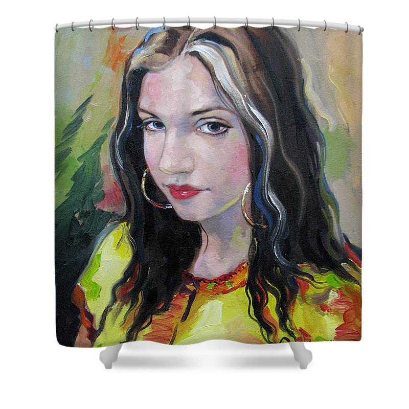 Gypsy Shower Curtain featuring the painting Gypsy Girl by Jerrold Carton