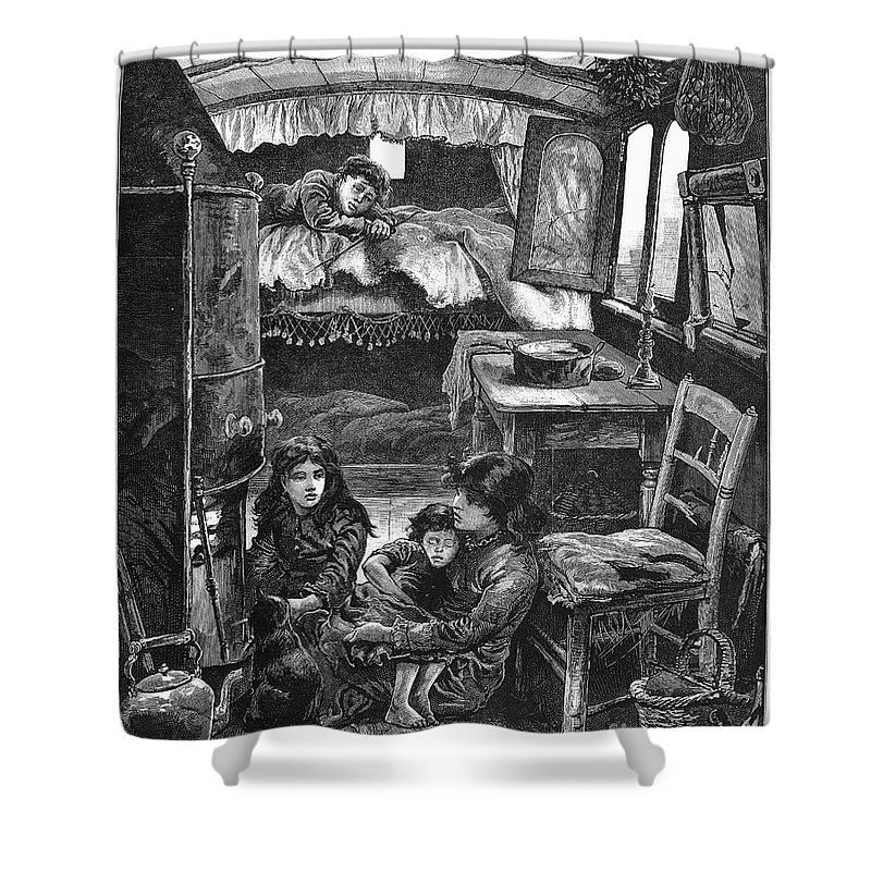 1879 Shower Curtain featuring the photograph Gypsy Wagon, 1879 by Granger
