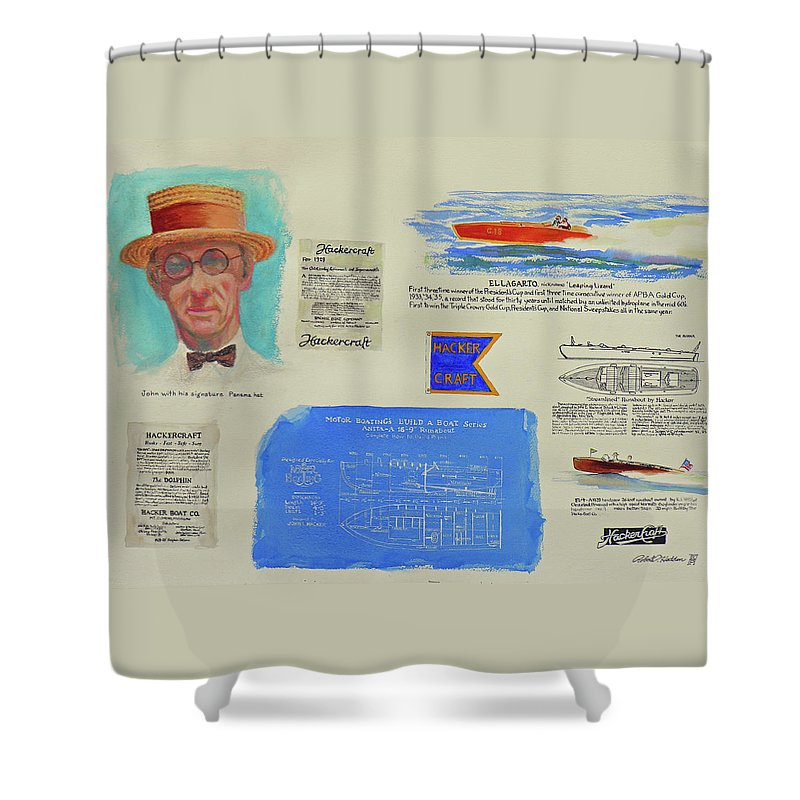 Paintings Shower Curtain featuring the painting Hacker Boat Poster by Robert P Hedden