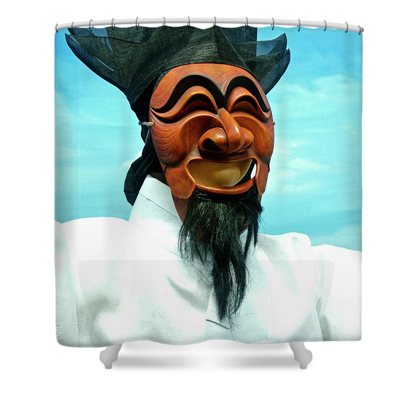 Asia Shower Curtain featuring the photograph Hahoe Mask by Michele Burgess