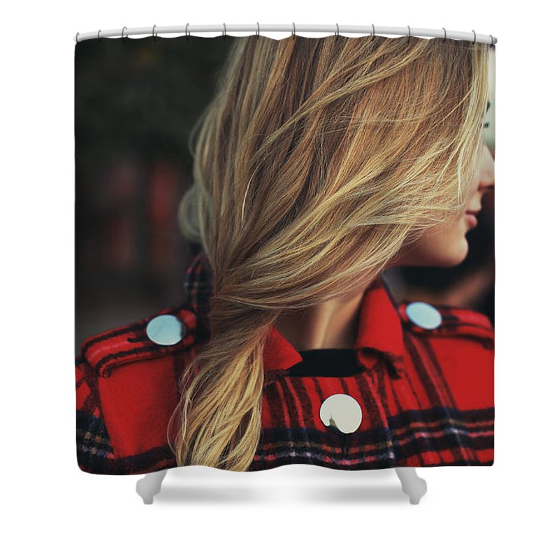 Hair Shower Curtain featuring the digital art Hair by Zia Low