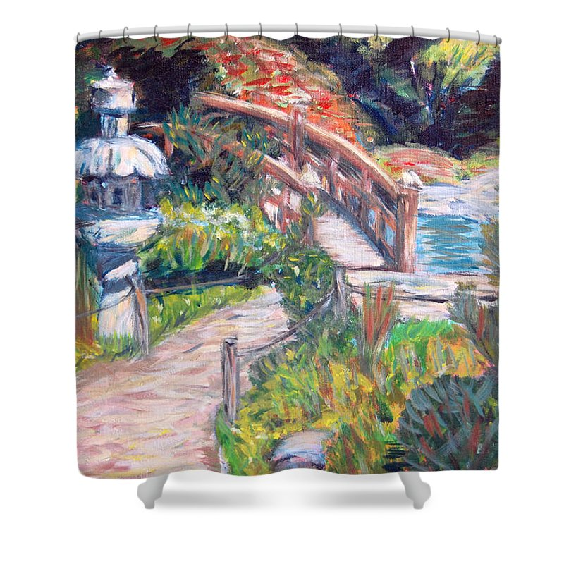 Hakone Garden Shower Curtain featuring the painting Hakone by Carolyn Donnell