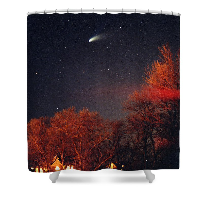 Comet Shower Curtain featuring the photograph Hale-bopp Comet by Nancy Mueller