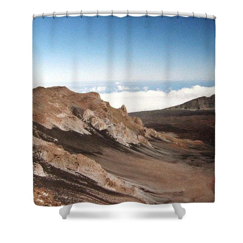 1986 Shower Curtain featuring the photograph Haleakala Crater by Will Borden