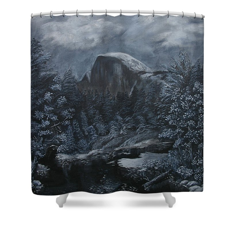 Yosemite Shower Curtain featuring the painting Half Dome Black And White by Travis Day