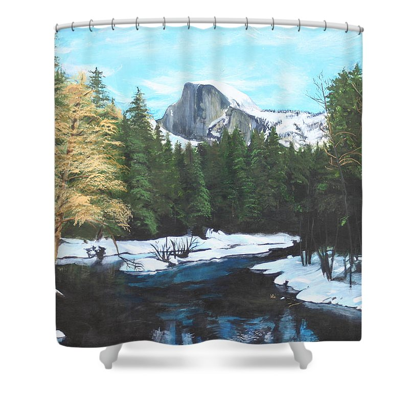 Lkandscape Shower Curtain featuring the painting Half Dome Snow by Travis Day