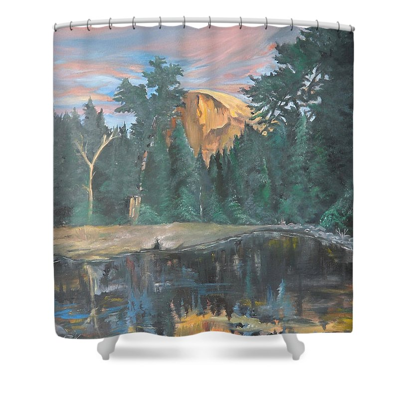 Sunset Shower Curtain featuring the painting Half Dome Sunset by Travis Day