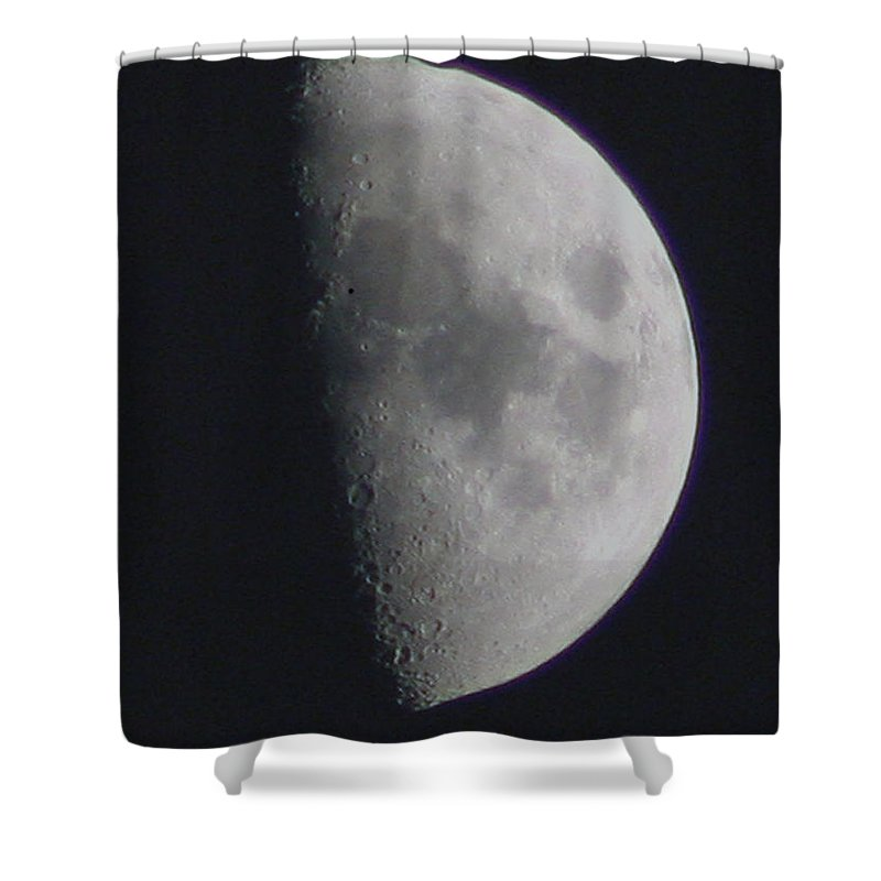 Moon Shower Curtain featuring the photograph Half Moon by David Campbell