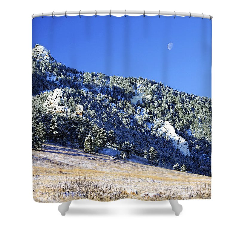 Nature Shower Curtain featuring the photograph Half Moon Over The Flatirons by Marilyn Hunt