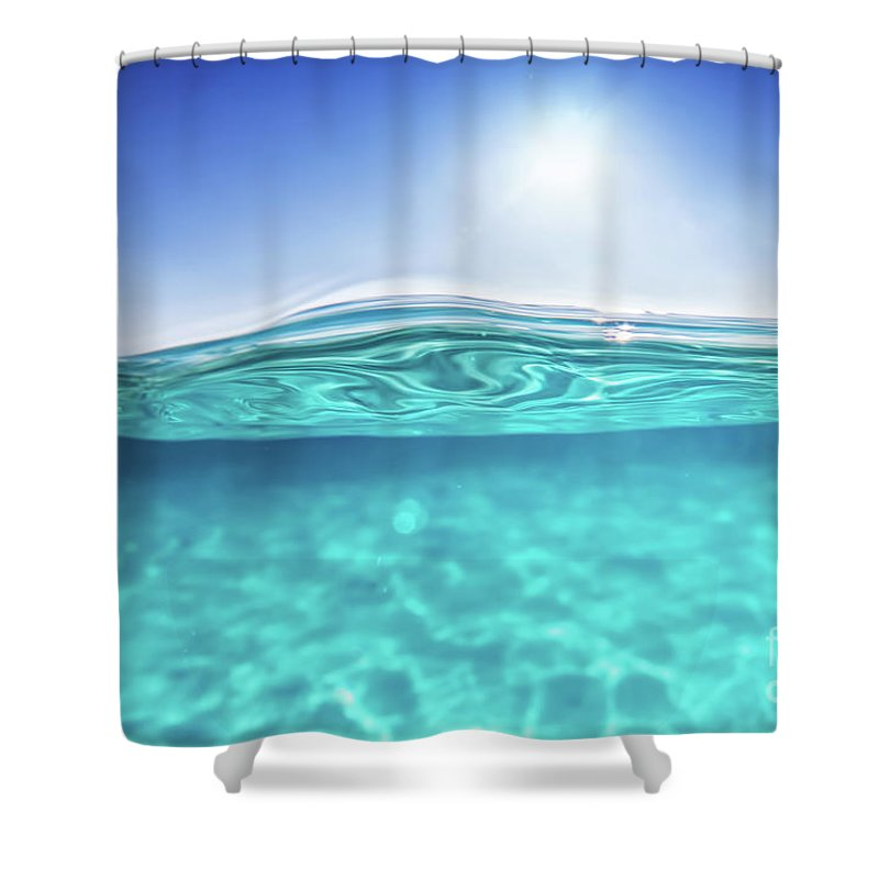Half Underwater Shot, Clear Water And Sunny Blue Sky. Tropical Ocean ...