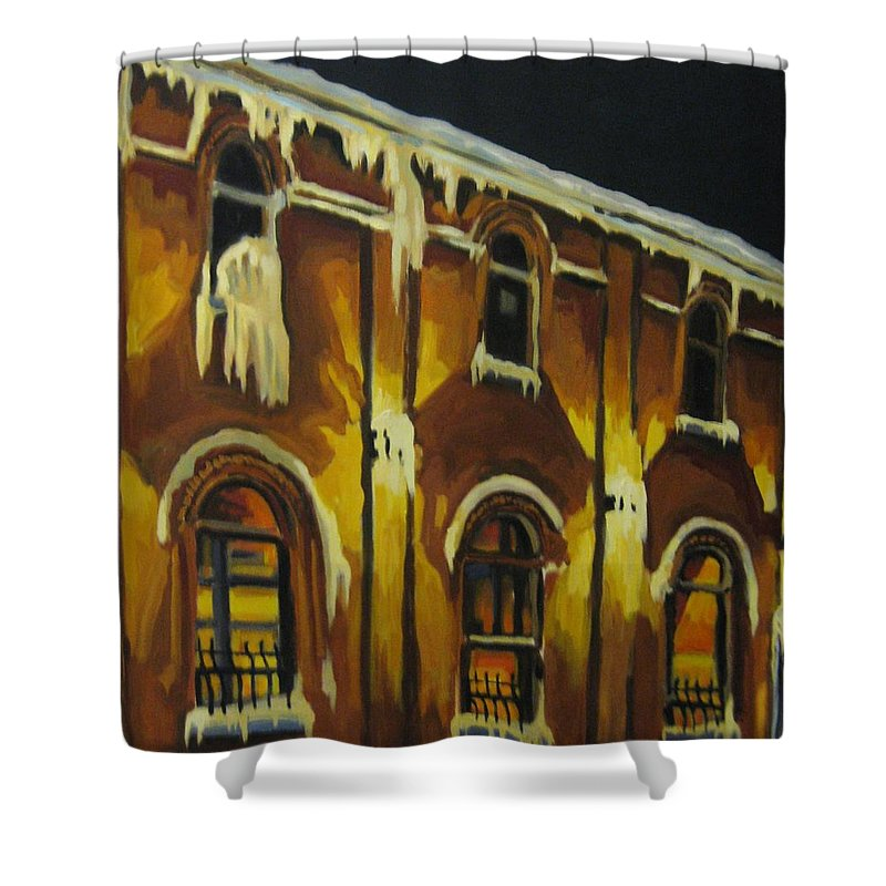 Urban Landscapes Shower Curtain featuring the painting Halifax Ale House In Ice by John Malone