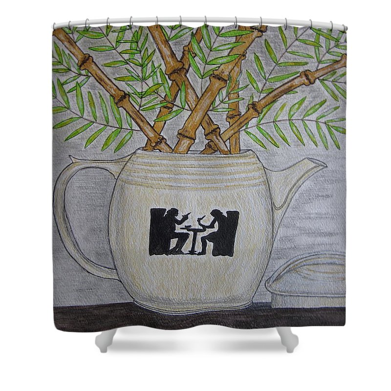 Hall China Shower Curtain featuring the painting Hall China Silhouette Pitcher With Bamboo by Kathy Marrs Chandler