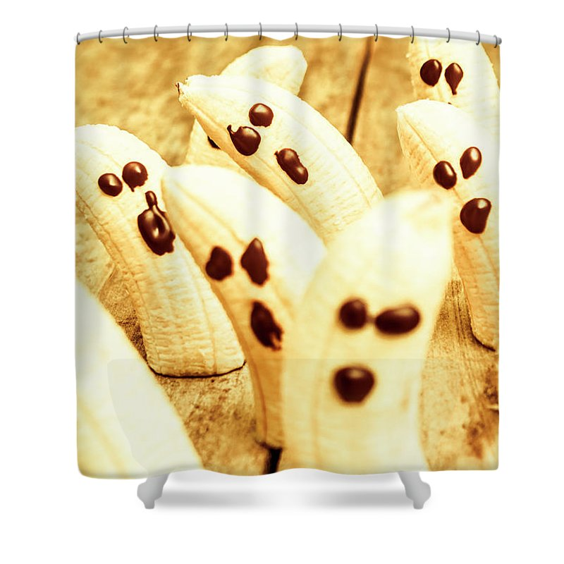Fruit Shower Curtain featuring the photograph Halloween Banana Ghosts by Jorgo Photography - Wall Art Gallery