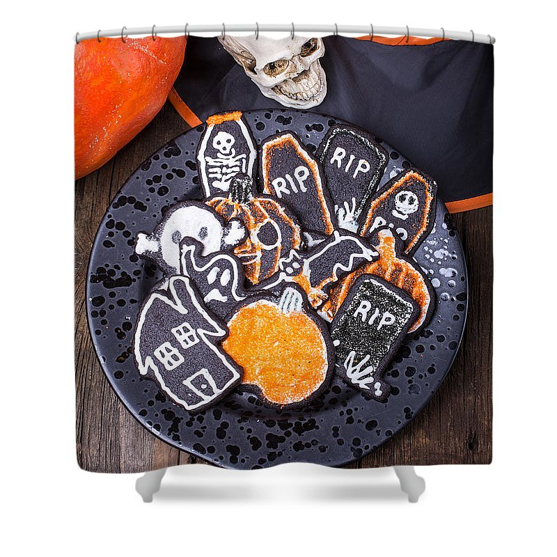 Cookie Shower Curtain featuring the photograph Halloween Cookies by Edward Fielding