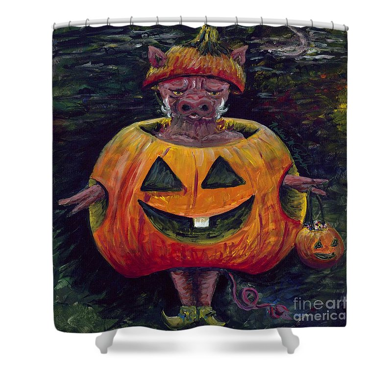 Halloween Shower Curtain featuring the painting Halloween Hog by Nadine Rippelmeyer