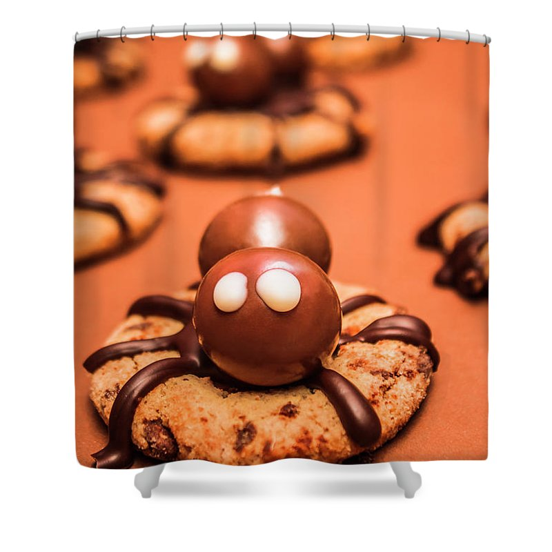 Spiders Shower Curtain featuring the photograph Halloween Homemade Cookie Spiders by Jorgo Photography - Wall Art Gallery