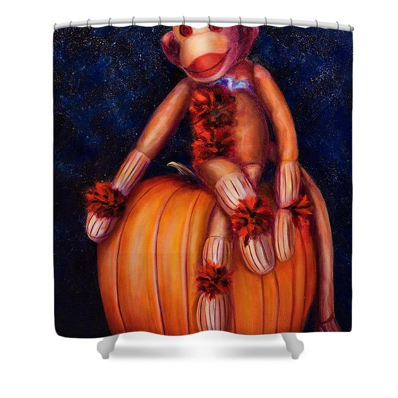 Pumpkin Shower Curtain featuring the painting Halloween by Shannon Grissom