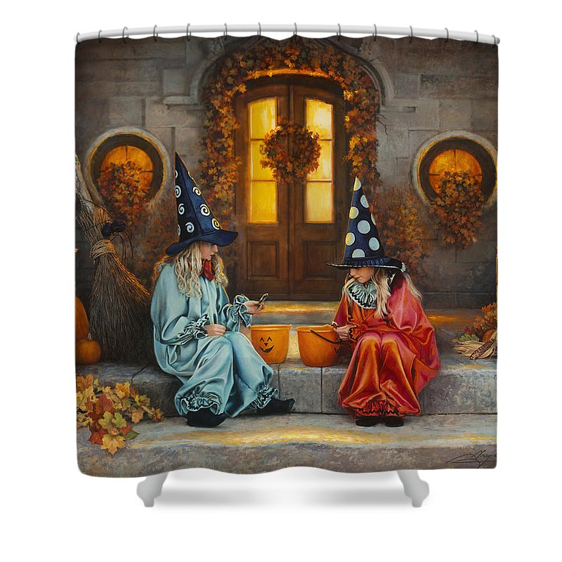 Halloween Shower Curtain featuring the painting Halloween Sweetness by Greg Olsen