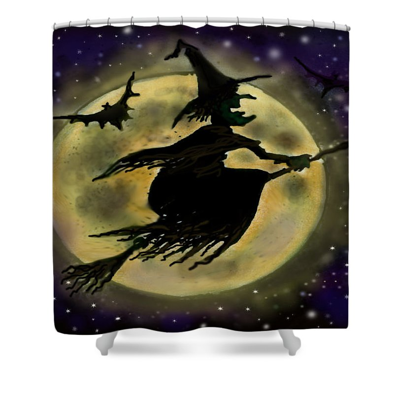 Halloween Shower Curtain featuring the digital art Halloween Witch by Kevin Middleton