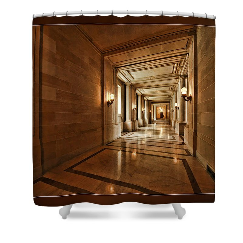 Art Photography Shower Curtain featuring the photograph Hallway In City Hall Sf by Blake Richards