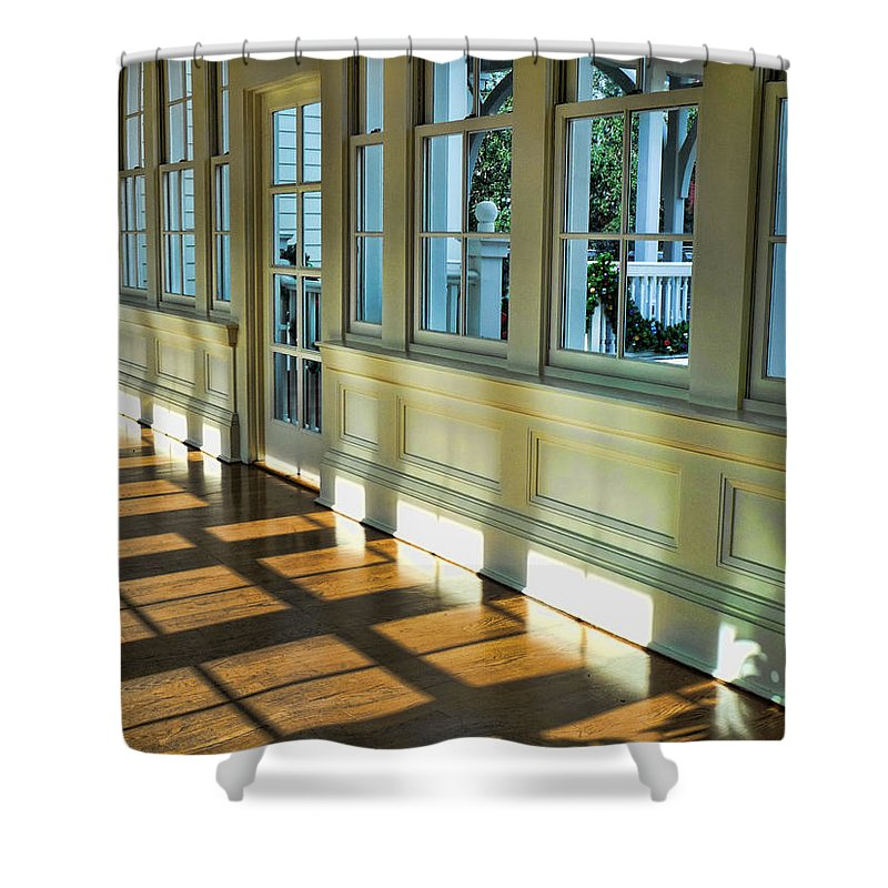 Boardwalk Shower Curtain featuring the photograph Hallway Shadows by Nora Martinez