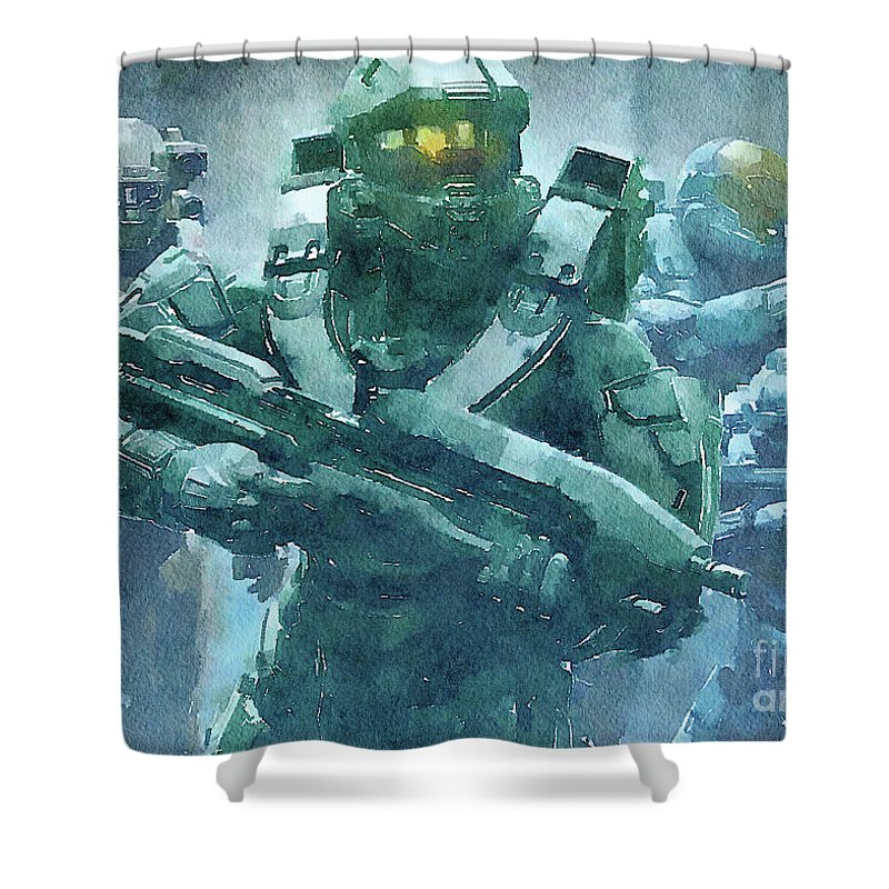 Poster Shower Curtain Featuring The Digital Art Halo Watercolor Game By Oleksandr Vaznichenko
