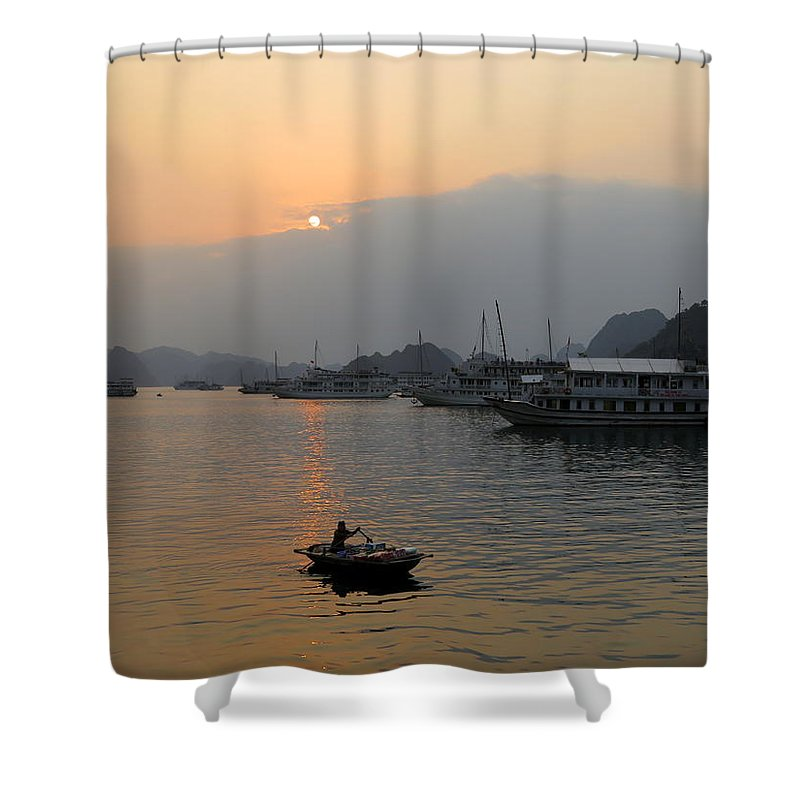 Fishermen Shower Curtain featuring the photograph Halong Bay 8 by Cindy Kellogg