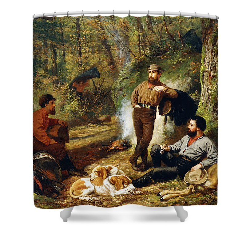 Hunt Shower Curtain featuring the painting Halt On The Portage by Arthur Fitzwilliam Tait