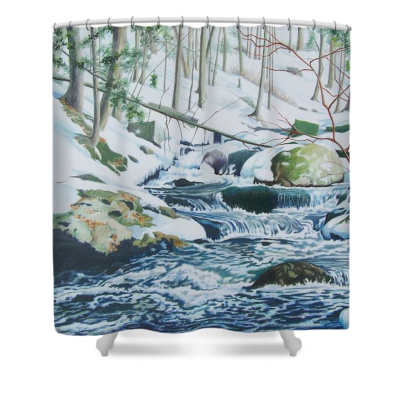 Snow Shower Curtain featuring the mixed media Hamburg Mountain Stream by Constance Drescher