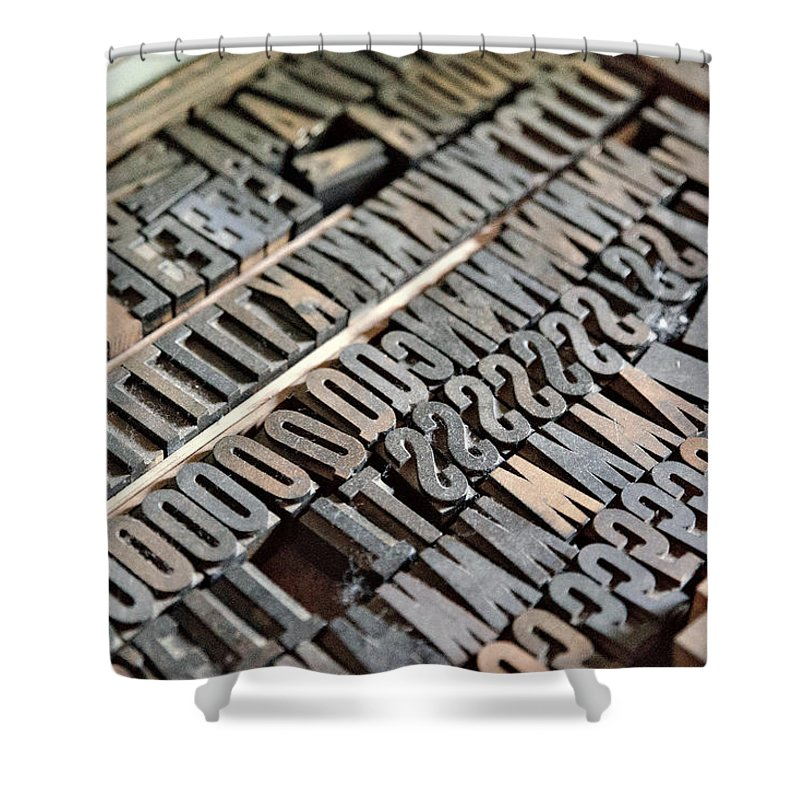 Metal Letters Shower Curtain featuring the photograph Hamilton Printing Press Letters by Nikki Vig