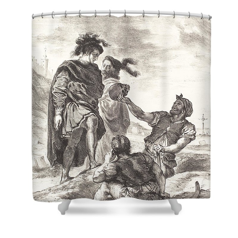 Shower Curtain featuring the drawing Hamlet And Horatio Before The Gravediggers (act V, Scene I) by Eug?ne Delacroix