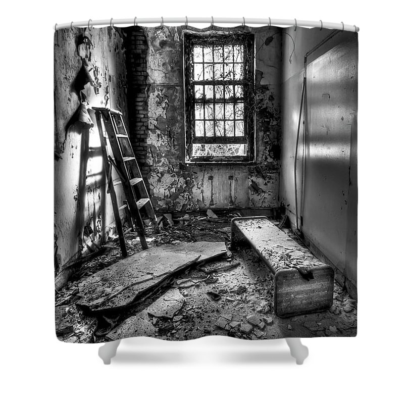 Ladder Shower Curtain featuring the photograph Hammer To Fall by Evelina Kremsdorf