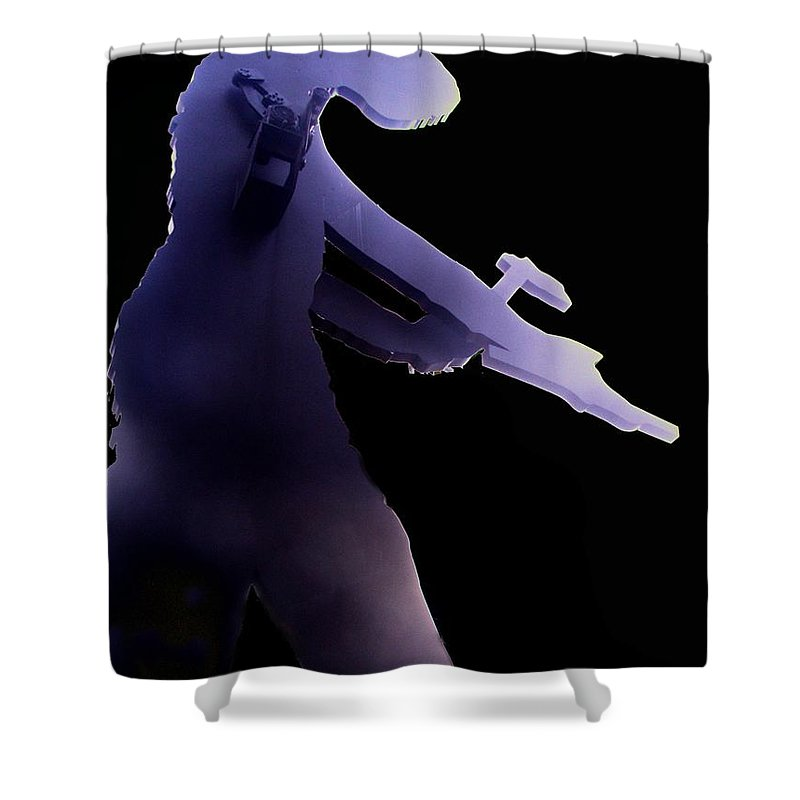 Seattle Shower Curtain featuring the digital art Hammering Man 2 by Tim Allen