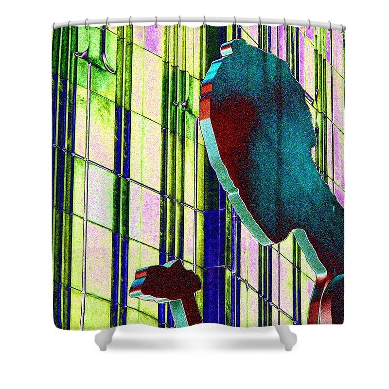 Seattle Shower Curtain featuring the digital art Hammering Man 3 by Tim Allen